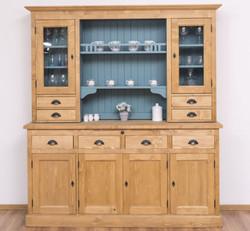 Casa Padrino Landhausstil Küchenschrank Naturfarben / Hellblau 180 x 50 x H. 197 cm - Massivholz Esszimmerschrank - Esszimmermöbel im Landhausstil