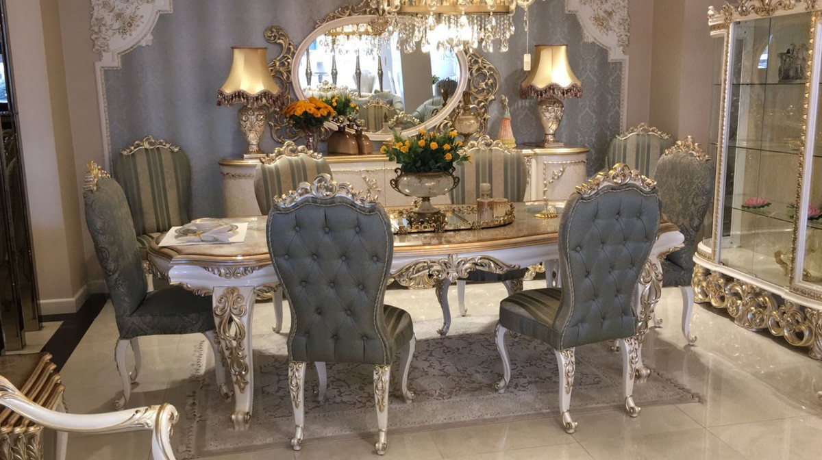 Casa Padrino Luxus Barock Esszimmer Set 1 Esstisch 8 Esszimmerstuhle Barock Esszimmermobel Luxus Qualitat Edel Prunkvoll