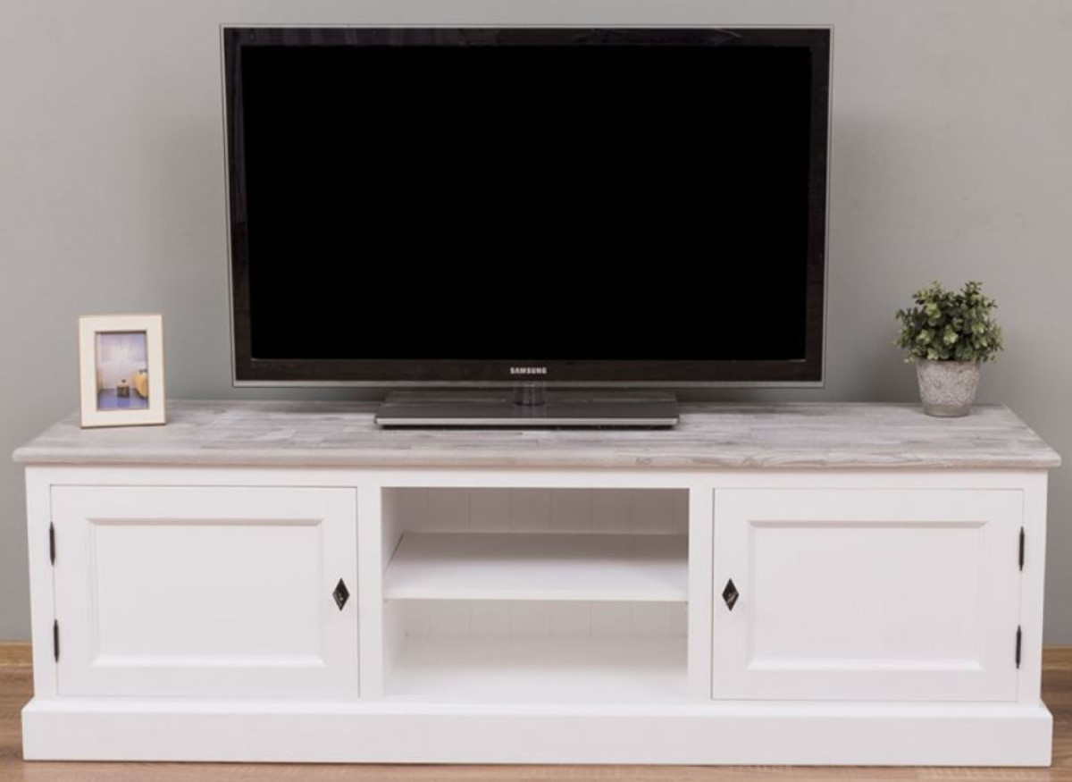 casa padrino country style tv cabinet white gray 180 x 46 x h 56 cm solid wood television cabinet with 2 doors country style living room