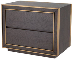 Casa Padrino luxury bedside table brown / brass 76 x 48.5 x H. 61.5 cm - Side table with 2 drawers - Luxury bedroom furniture
