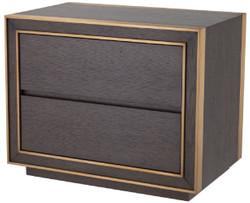 Casa Padrino Luxus Nachttisch Braun / Messingfarben 76 x 48,5 x H. 61,5 cm - Beistelltisch mit 2 Schubladen - Luxus Schlafzimmer Möbel