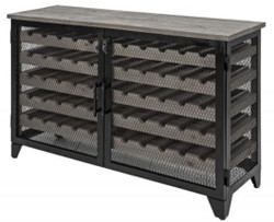 Casa Padrino industrial style wine cabinet black / gray 127 x 40 x H. 83 cm - Industrial design metal wine cabinet with 2 doors - Bar furniture in industrial style