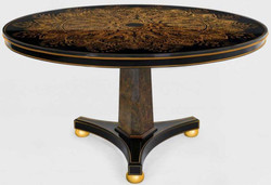 Casa Padrino luxury dining table black / bronze / gold Ø 150 x H. 78 cm - Round solid wood kitchen table - Dining room table - Luxury dining room furniture