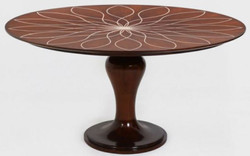 Casa Padrino luxury dining table brown / white Ø 150 x H. 78 cm - Round solid wood kitchen table - Dining room table - Luxury dining room furniture