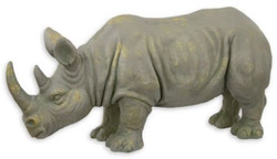 Casa Padrino synthetic resin decoration sculpture rhinoceros gray / gold 77 x 25.2 x H. 36 cm - Decoration figure - Animal figure - Living room decoration
