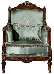 Casa Padrino Luxus Barock Sessel Hellgrün / Braun 80 x 90 x H. 119 cm - Wohnzimmer Sessel mit dekorativem Kissen - Barock Möbel