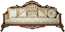 Casa Padrino luxury baroque sofa gold / brown / bronze 245 x 92 x H. 127 cm - Living room sofa with elegant pattern and decorative pillows - Noble baroque furniture