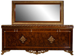 Casa Padrino luxury baroque furniture set sideboard with mirror brown / bronze / gold - Noble solid wood cabinet with elegant wall mirror - Furniture in baroque style