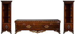 Casa Padrino luxury baroque furniture set brown / bronze / gold - Noble solid wood TV cabinet with 2 showcases - Baroque living room furniture