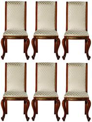 Casa Padrino Luxus Barock Esszimmer Stuhl Set Gold Muster / Braun / Gold 50 x 55 x H. 105 cm - Edles Küchen Stühle 6er Set - Barock Esszimmer Möbel