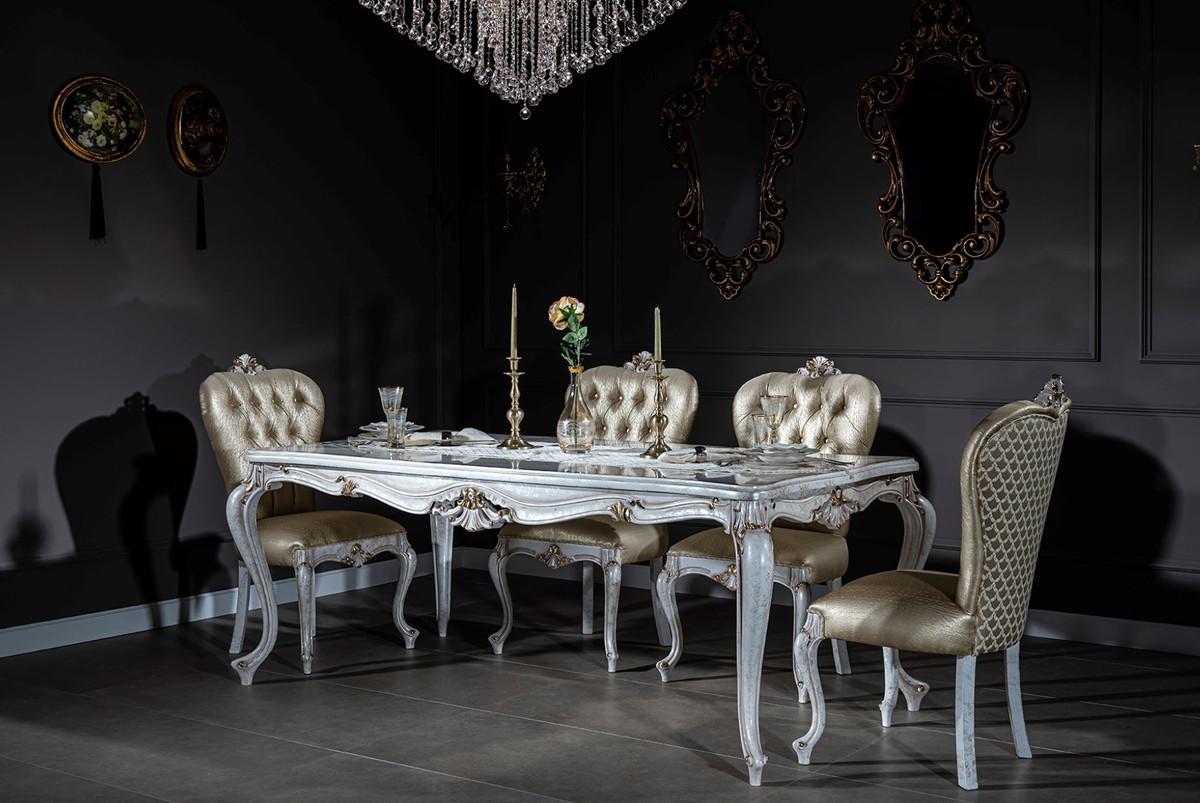 Casa Padrino Set Da Pranzo Barocco Di Lusso Oro Bianco Antico 1 Tavolo Da Pranzo E