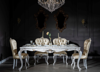 Casa Padrino luxury baroque dining room set gold / antique white - 1 Dining Table & 6 Dining Chairs - Dining room furniture in baroque style - Noble & Magnificent