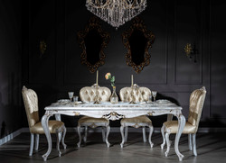 Casa Padrino luxury baroque dining room set gold / antique white - 1 Dining Table & 6 Dining Chairs - Dining room furniture in baroque style - Noble & Magnificent 1