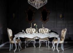 Casa Padrino Luxus Barock Esszimmer Set Gold / Antik Weiß - 1 Esstisch & 6 Esszimmerstühle - Esszimmermöbel im Barockstil - Edel & Prunkvoll
