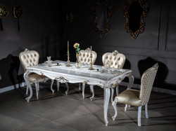 Casa Padrino luxury baroque dining room set gold / antique white - 1 Dining Table & 6 Dining Chairs - Dining room furniture in baroque style - Noble & Magnificent 3