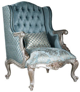 Casa Padrino luxury baroque wing chair light blue / silver / gold 77 x 80 x H. 113 cm - Living room armchair with elegant pattern and decorative pillow - Baroque living room furniture