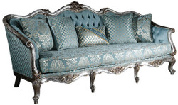 Casa Padrino luxury baroque sofa light blue / silver / gold 238 x 85 x H. 106 cm - Living room sofa with elegant pattern and decorative pillows - Baroque living room furniture 2