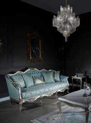Casa Padrino luxury baroque sofa light blue / silver / gold 238 x 85 x H. 106 cm - Living room sofa with elegant pattern and decorative pillows - Baroque living room furniture 6