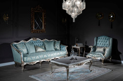 Casa Padrino luxury baroque sofa light blue / silver / gold 238 x 85 x H. 106 cm - Living room sofa with elegant pattern and decorative pillows - Baroque living room furniture 7