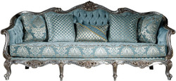 Casa Padrino luxury baroque sofa light blue / silver / gold 238 x 85 x H. 106 cm - Living room sofa with elegant pattern and decorative pillows - Baroque living room furniture 1