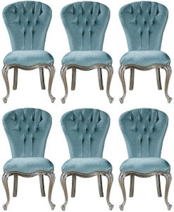 Casa Padrino luxury baroque dining chair set light blue / silver / gold 58 x 55 x H. 105 cm - Kitchen chairs set of 6 - Noble baroque dining room furniture