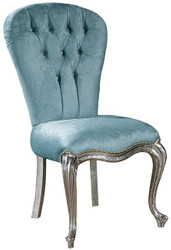 Casa Padrino luxury baroque dining chair set light blue / silver / gold 58 x 55 x H. 105 cm - Kitchen chairs set of 6 - Noble baroque dining room furniture  3
