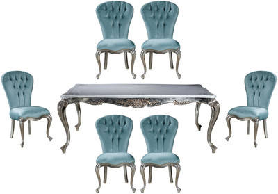 Casa Padrino luxury baroque dining room set light blue / silver - 1 Dining Table & 6 Dining Chairs - Baroque dining room furniture - Noble & Magnificent