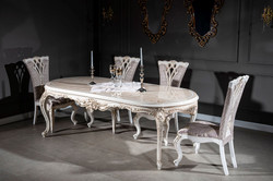 Casa Padrino luxury baroque dining chair set purple / beige / white / gold 57 x 65 x H. 113 cm - Kitchen chairs set of 6 - Magnificent baroque dining room furniture  6