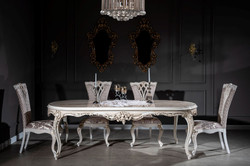 Casa Padrino luxury baroque dining table beige / white / gold 247 x 110 x H. 80 cm - Oval solid wood dining room table - Baroque dining room furniture - Noble & Magnificent 5