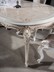 Casa Padrino luxury baroque dining room set purple / beige / white / gold - 1 Oval Dining Table & 6 Dining Chairs with elegant Pattern - Baroque dining room furniture - Noble & Magnificent 7