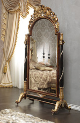 Casa Padrino luxury baroque standing mirror with wheels brown / black / gold / silver 106 x 56 x H. 218 cm - Magnificent hand-carved baroque furniture - Luxury Quality - Made in Italy