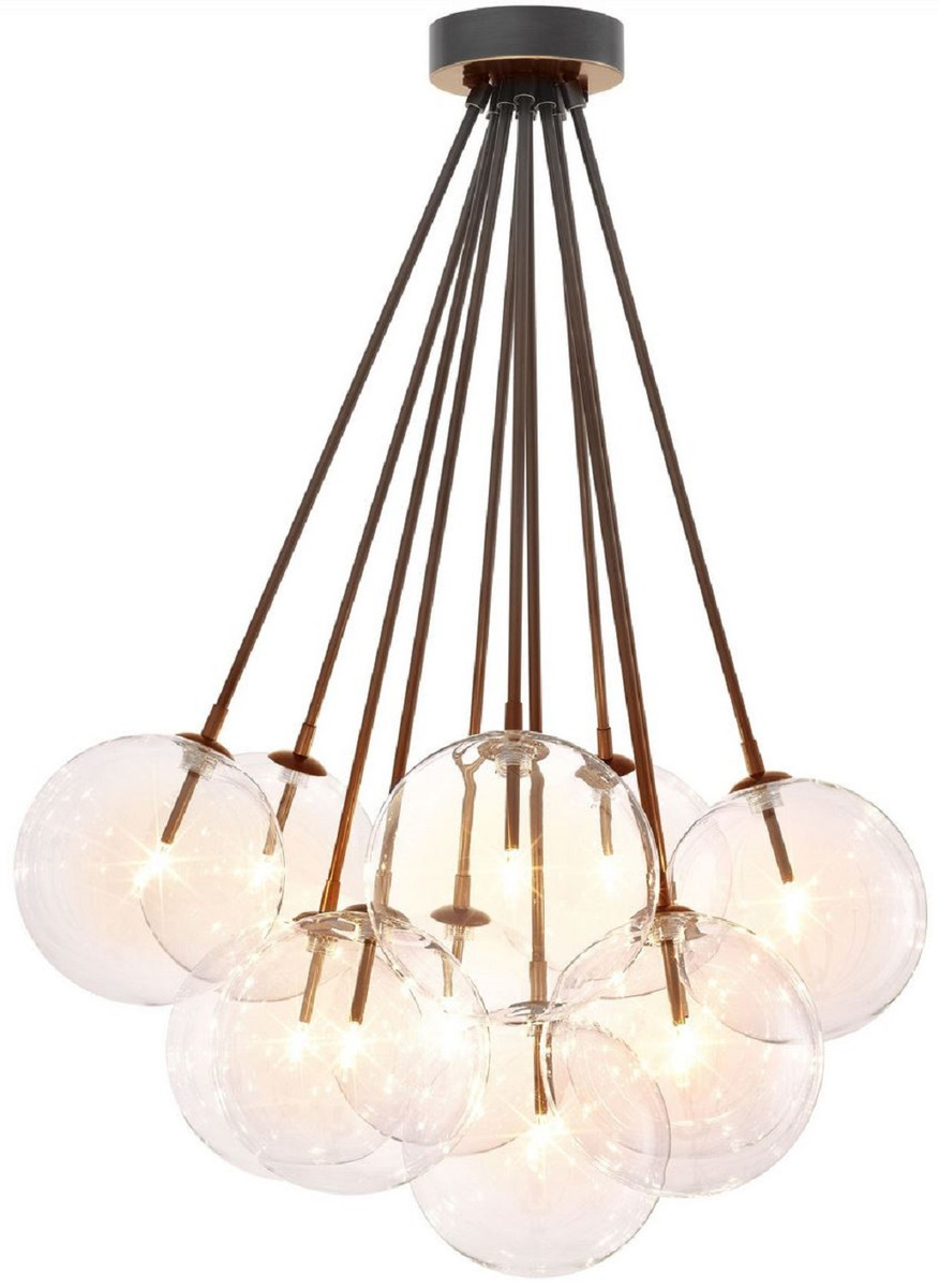Casa Padrino Luxury Halogen Ceiling Lamp Bronze O 66 X H 94 5 Cm Dimmable Ceiling Light With Round Glass Lampshades Luxury Quality