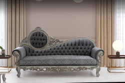 Casa Padrino luxury baroque sofa gray / blue / silver / bronze 230 x 90 x H. 135 cm - Magnificent solid wood living room sofa with elegant pattern and decorative pillows - Baroque living room furniture