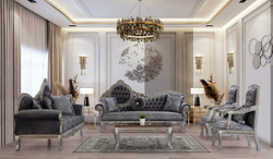 Casa Padrino luxury baroque living room set gray / blue / silver / bronze - 2 Sofas & 2 Armchairs & 1 Coffee Table - Magnificent living room furniture in baroque style