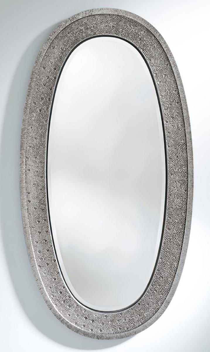 Casa Padrino Luxus Spiegel Silber 89 x 5 x H. 170 cm - Eleganter Ovaler Wandspiegel - Garderoben Spiegel - Wohnzimmer Spiegel - Luxus Deko Accessoires
