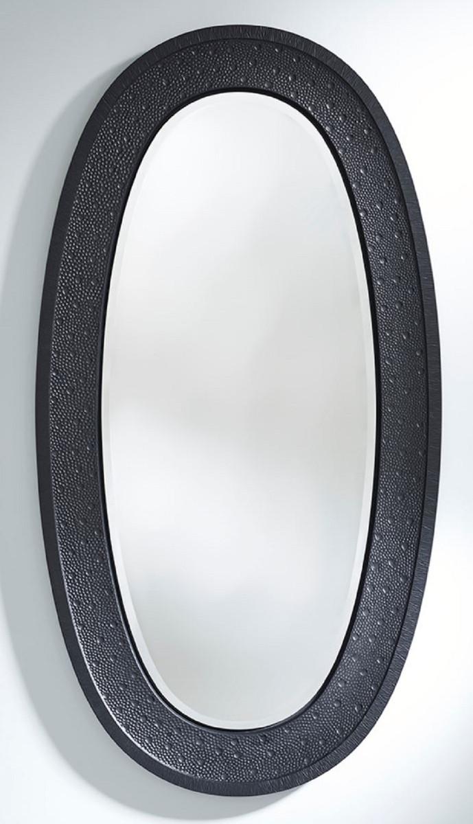 Casa Padrino Luxus Spiegel Schwarz 89 x 5 x H. 170 cm - Eleganter Ovaler Wandspiegel - Garderoben Spiegel - Wohnzimmer Spiegel - Luxus Deko Accessoires