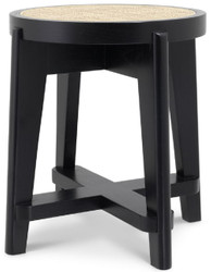 Casa Padrino luxury stool black / natural Ø 44.5 x H. 47 cm - Round solid wood stool with rattan - Living room furniture