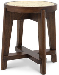 Casa Padrino luxury stool brown / natural Ø 44.5 x H. 47 cm - Round solid wood stool with rattan - Living room furniture