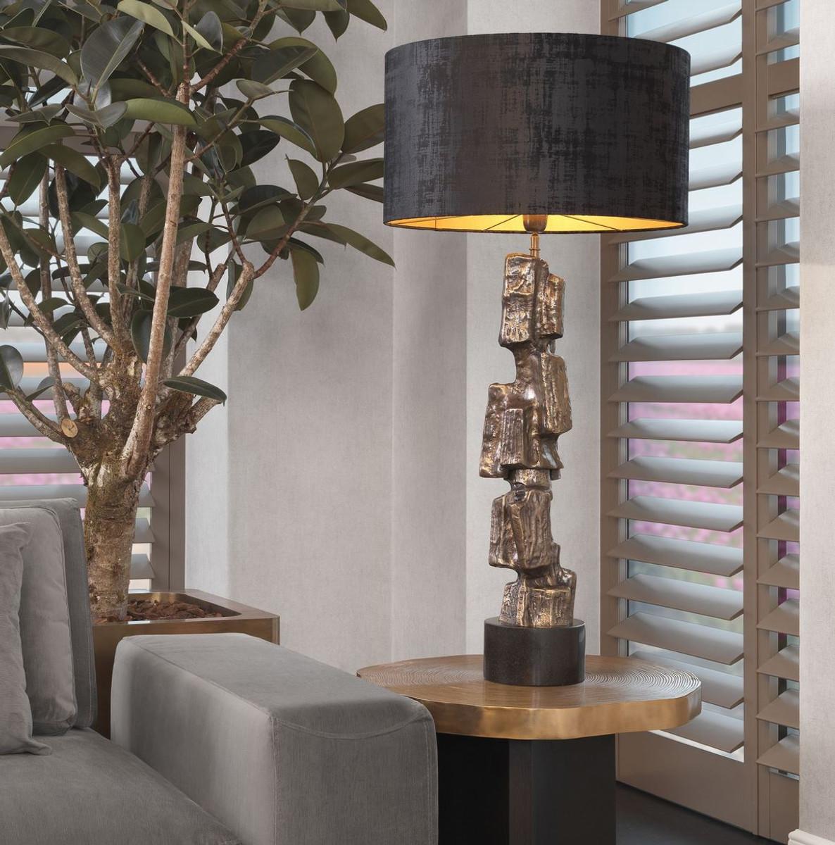 Casa Padrino Lampada Da Tavolo Di Lusso Ottone Vintage Nero O 55 X A 113 Cm Lampada Da Tavolo Moderna Con Base In Granito E Paralume Rotondo Lampada Da Soggiorno Casa Padrino De