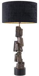 Casa Padrino luxury table lamp vintage brass / black Ø 55 x H. 113 cm - Modern table lamp with granite base and round lampshade - Living room lamp