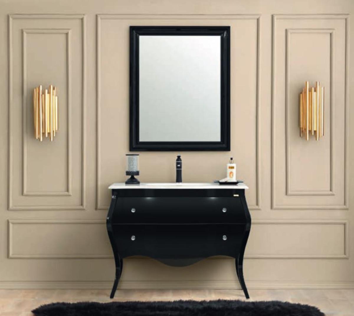 Casa Padrino Luxus Barock Badezimmer Set Schwarz Weiss 1 Waschtisch 1 Waschbecken 1 Wandspiegel Badezimmer Mobel Im Barockstil