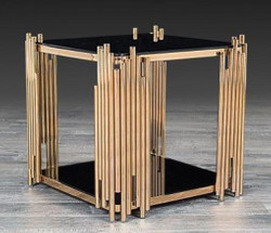 Casa Padrino designer side table gold 48 x 48 x H. 50 cm - Square table with glass plates - Luxury living room furniture