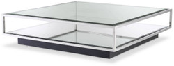 Casa Padrino luxury coffee table silver / black 120 x 120 x H. 30 cm - Square stainless steel living room table with mirror glass and glass top - Living room furniture - Luxury Quality