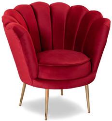 Casa Padrino Designer Art Deco Wohnzimmer Sessel Rot / Messingfarben 80 x 50 x H. 80 cm - Art Deco Wohnzimmer Möbel