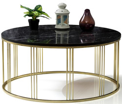 Casa Padrino luxury coffee table gold / black Ø 90 x H. 45 cm - Round living room table with marble top - Living room furniture