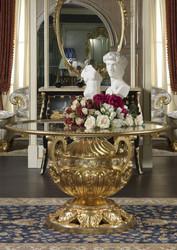 Casa Padrino Luxus Barock Esstisch Gold / Silber Ø 120 x H. 78 cm - Prunkvoller handgeschnitzter Esszimmertisch mit Glasplatte - Hotel Restaurant Schloss Möbel - Luxus Qualität - Made in Italy