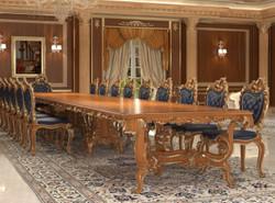 Casa Padrino Luxus Barock Esstisch Braun / Gold - Verschiedene Größen - Prunkvoller Massivholz Esszimmertisch - Hotel Restaurant Schloss Möbel - Luxus Qualität - Made in Italy