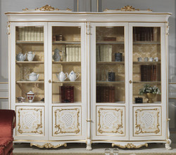 Casa Padrino luxury baroque display cabinet white / cream / beige / gold 276 x 60 x H. 230 cm - Noble solid wood display cabinet with 4 doors - Baroque living room furniture - Luxury Quality