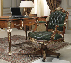 Casa Padrino luxury baroque desk green / brown / gold 156 x 88 x H. 80 cm - Magnificent handmade solid wood office table with genuine leather - Baroque Office furniture - Luxury Quality
