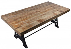 Casa Padrino industrial design dining table natural / black 200 x 100 x H. 77 cm - Solid wood kitchen table in industrial design - Dining room furniture